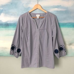 Liz Claiborne Poplin Embroidered Blouse 3/4 Sleeve